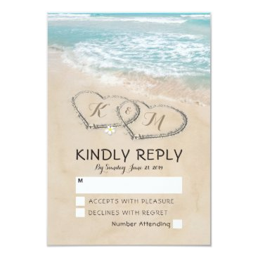 special_stationery Tropical Vintage Beach Heart Shore Wedding RSVP Card