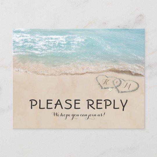 Tropical Vintage Beach Heart Shore Wedding RSVP Invitation Postcard