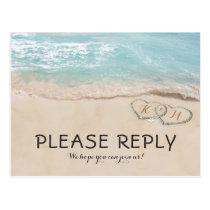 Tropical Vintage Beach Heart Shore Wedding RSVP Postcard