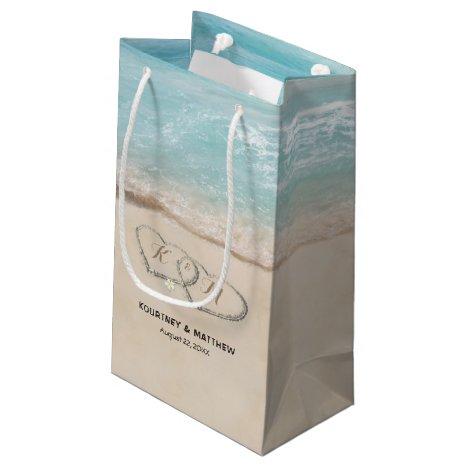 Tropical Vintage Beach Heart Shore Wedding Small Gift Bag