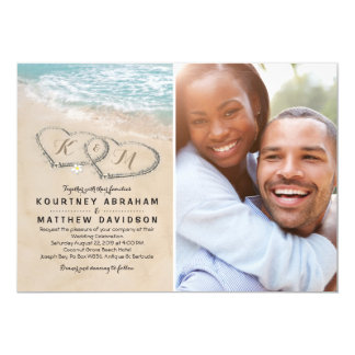 Tropical Vintage Beach Heart Wedding Photo Invitation