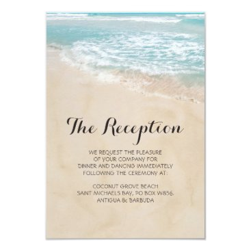 special_stationery Tropical Vintage Beach Heart Wedding Reception Card