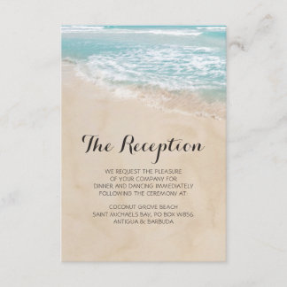 Tropical Vintage Beach Heart Wedding Reception Enclosure Card