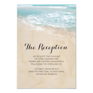 Tropical Vintage Beach Heart Wedding Reception Invitation