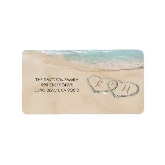 Tropical Vintage Beach Hearts in Sand Label