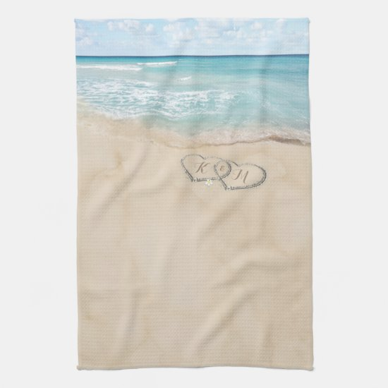 Tropical Vintage Beach Hearts Initials Kitchen Towel