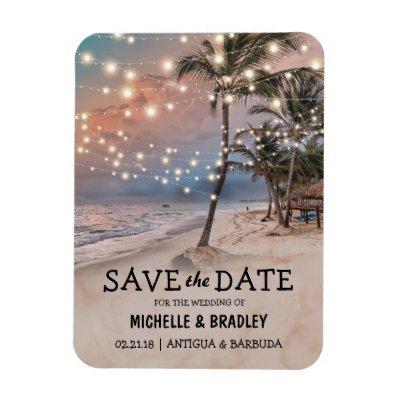 Tropical Vintage Beach Lights Fridge Save the Date Magnet