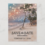 """Tropical Vintage Beach Lights Save the Date Announcement Postcard<br><div class=""""desc"""">Vintage beach destination save the date postcards featuring a romantic sunset tropical beach setting with lush palm trees and string twinkle lights. For further personalization, please click the &quot;Customize it&quot; button to modify this template. All text style, colors, and sizes can be modified to suit your needs. You will find...</div>"""