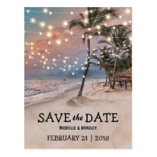 Tropical Vintage Beach Lights Save the Date Postcards