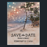 "Tropical Vintage Beach Lights Save the Date Postcard<br><div class=""desc"">Vintage beach destination save the date postcards featuring a romantic sunset tropical beach setting with lush palm trees and string twinkle lights. For further personalization, please click the &quot;Customize it&quot; button to modify this template. All text style, colors, and sizes can be modified to suit your needs. You will find...</div>"