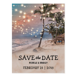 Tropical Vintage Beach Lights Save the Date Postcard