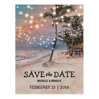 Tropical Vintage Beach Lights Save the Date Postcard