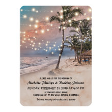 Tropical Vintage Beach Lights Wedding Invitation