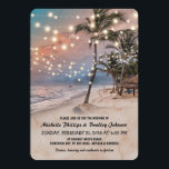 """Tropical Vintage Beach Lights Wedding Card<br><div class=""""desc"""">Vintage beach destination wedding invitations featuring a romantic sunset tropical beach setting with lush palm trees and string twinkle lights.</div>"""