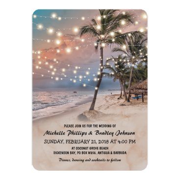 special_stationery Tropical Vintage Beach Lights Wedding Card