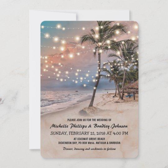 Tropical Vintage Beach Lights Wedding Invitation