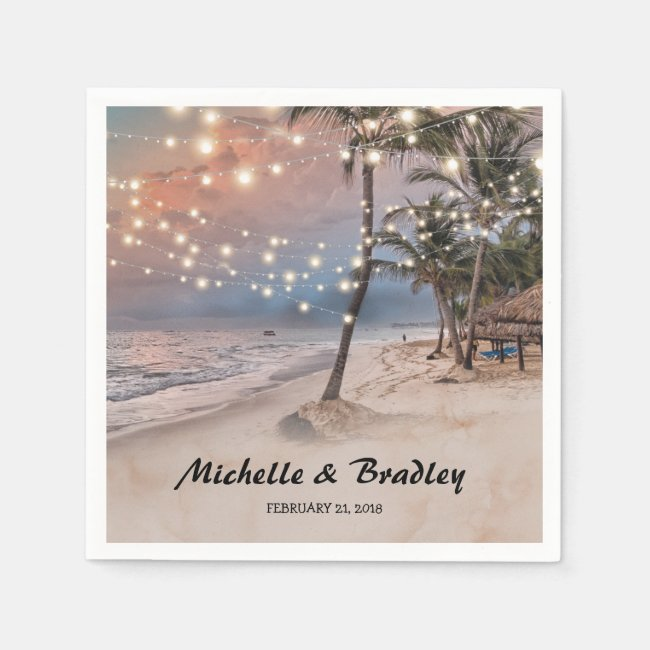 Tropical Vintage Beach Lights Wedding Paper Napkin