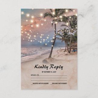 Tropical Vintage Beach Lights Wedding RSVP