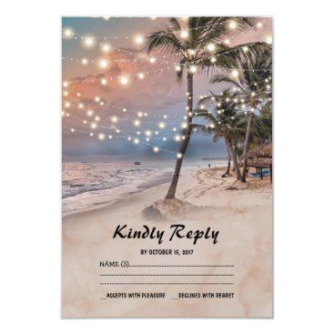 special_stationery Tropical Vintage Beach Lights Wedding RSVP Card