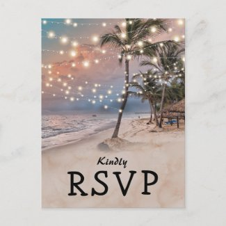 Tropical Vintage Beach Lights Wedding RSVP Invitation Postcard