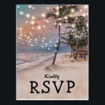 "Tropical Vintage Beach Lights Wedding RSVP Postcard<br><div class=""desc"">Vintage beach destination wedding rsvp postcards featuring a romantic sunset tropical beach setting with lush palm trees and string twinkle lights. Click on the ""Customize it"" button for further personalization of this template. You will be able to modify all text, including the style, colors, and sizes. You will find matching...</div>"
