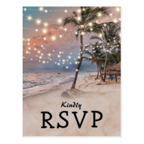 Tropical Vintage Beach Lights Wedding RSVP Postcard