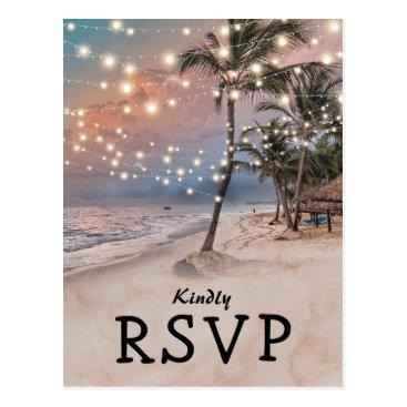 special_stationery Tropical Vintage Beach Lights Wedding RSVP Postcard
