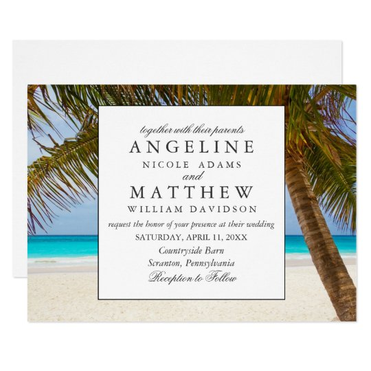 Vintage Beach Wedding Invitations: Tropical Vintage Beach Shore Palm Wedding Invitation