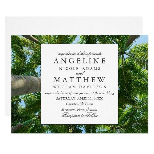 Tropical Vintage Beach Shore Palm Wedding Invitation