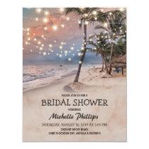 Tropical Vintage Beach String Lights Bridal Shower Invitation