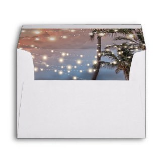 Tropical Vintage Beach String Lights Envelope