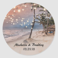 Tropical Vintage Beach String Lights Wedding Classic Round Sticker