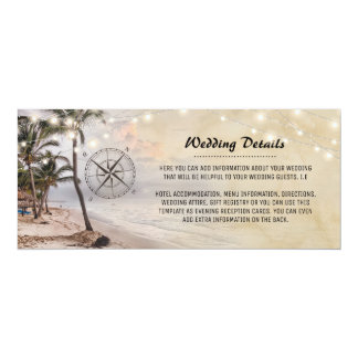 Tropical Vintage Beach Wedding Details Information Card