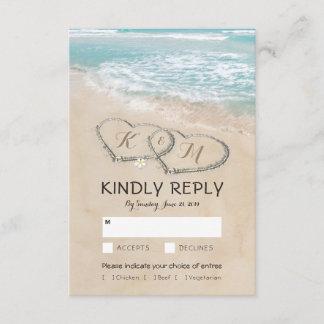 Tropical Vintage Beach Wedding RSVP Entree Choices