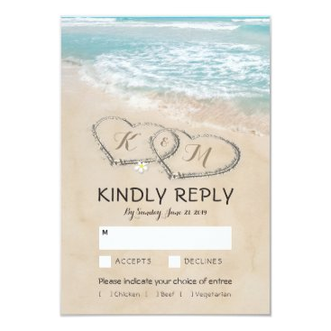 special_stationery Tropical Vintage Beach Wedding RSVP Entree Choices Card