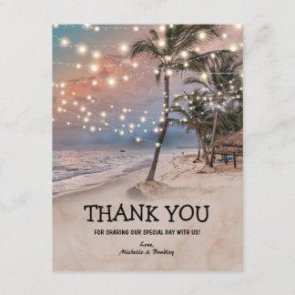 Tropical Vintage Beach Wedding Thank You