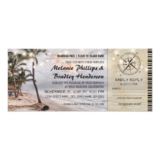 Tropical Vintage Beach Wedding Tickets with rsvp Card