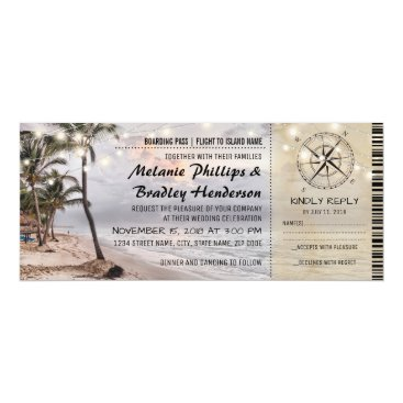 special_stationery Tropical Vintage Beach Wedding Tickets with rsvp Card