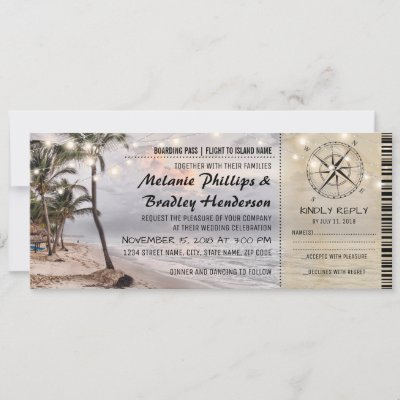 Tropical Vintage Beach Wedding Tickets with rsvp Invitation