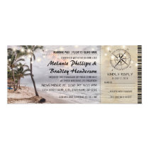 Tropical Vintage Beach Wedding Tickets with rsvp Invitation