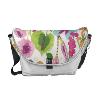 Tropical Vintage Floral Pattern Courier Bag