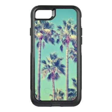 Tropical Vintage Palm Trees on Teal Background OtterBox Commuter iPhone 8/7 Case