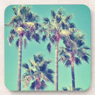 Tropical Vintage Palm Trees on Teal Green Drink Coaster