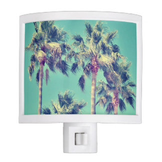 Tropical Vintage Palms against a Teal Sky Night Light