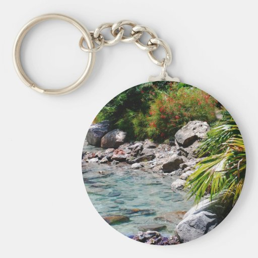 Tropical Water and Palms Basic Round Button Keychain
