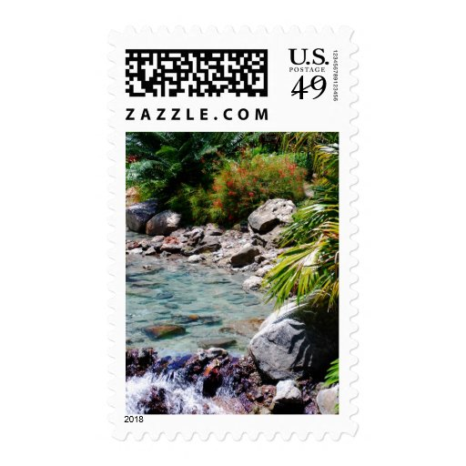 Tropical Water and Palms Postage Stamps