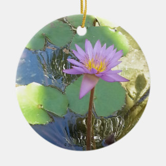 Tropical Water Lily Flower Christmas Tree Ornament