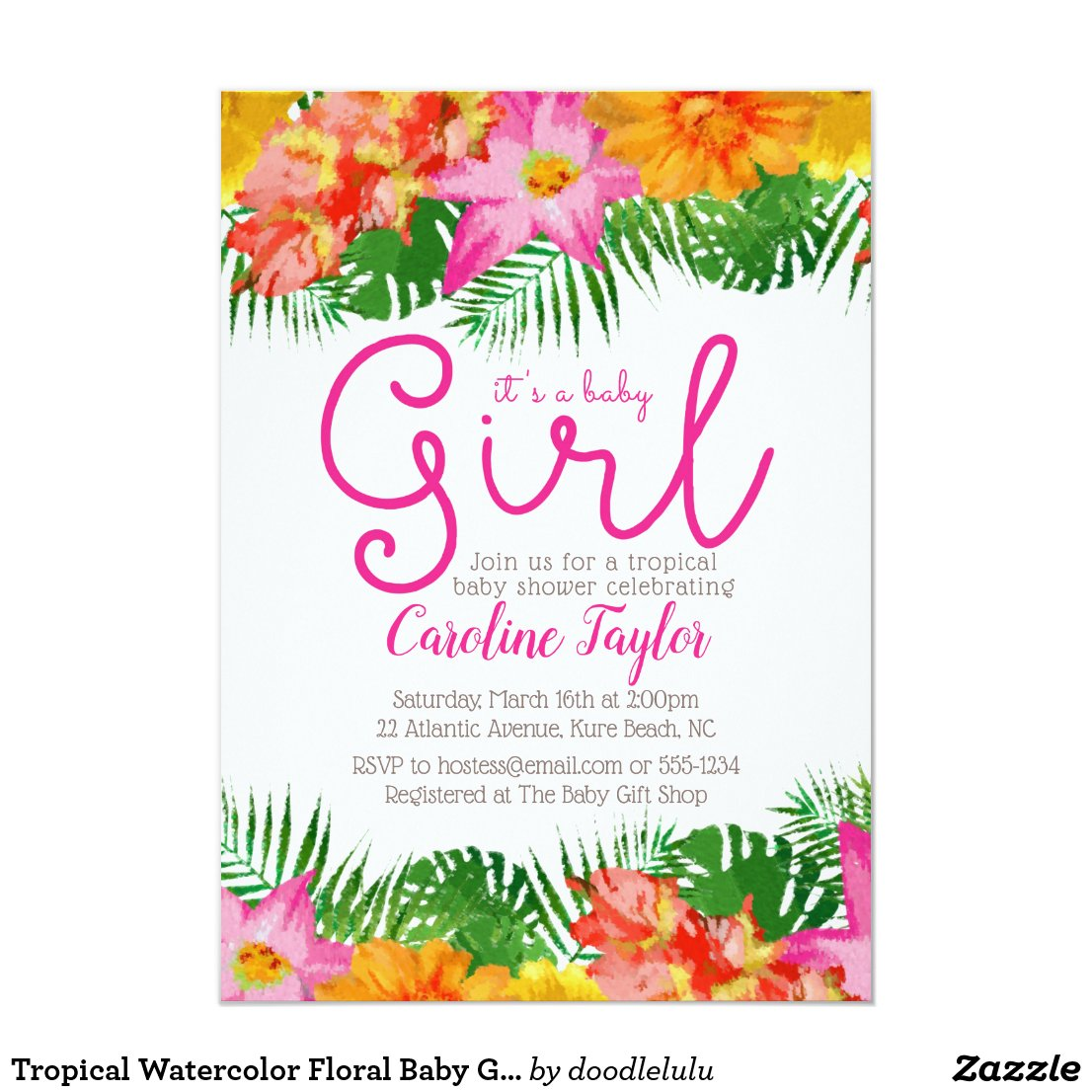 Tropical Watercolor Baby Shower Invitation