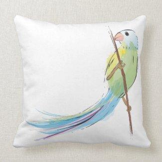 Tropical watercolor bird throwpillow