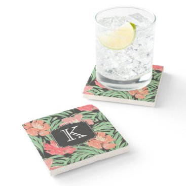 Beach Themed Tropical Watercolor Botanical with Monogram Stone Coaster